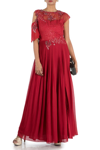 Wine Pleated Maxi Gown Front