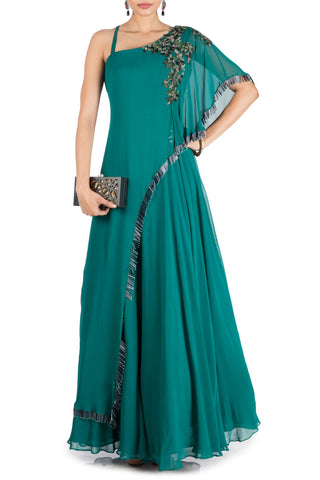 Teal Green One Side Cape Flare Gown Front