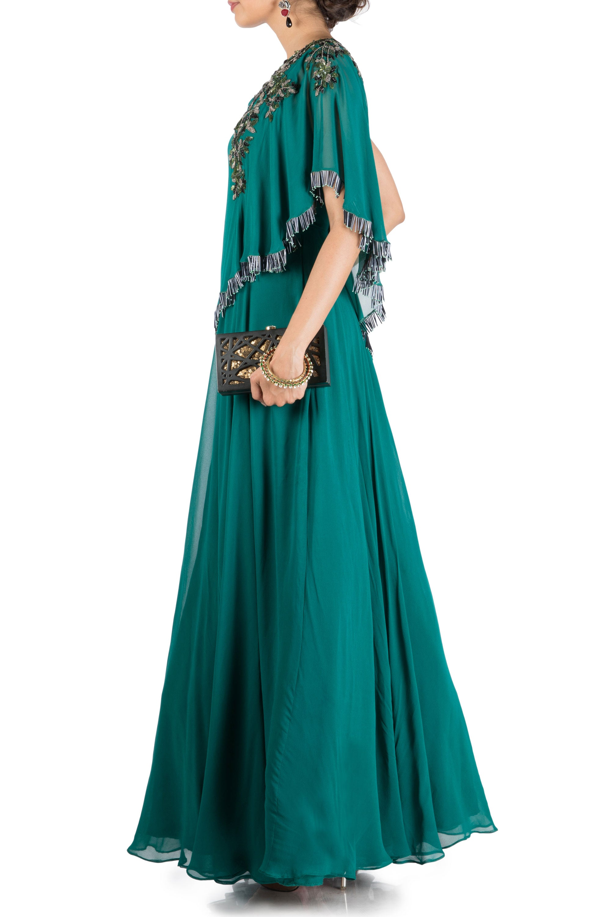 Teal Green One Side Cape Flare Gown Side