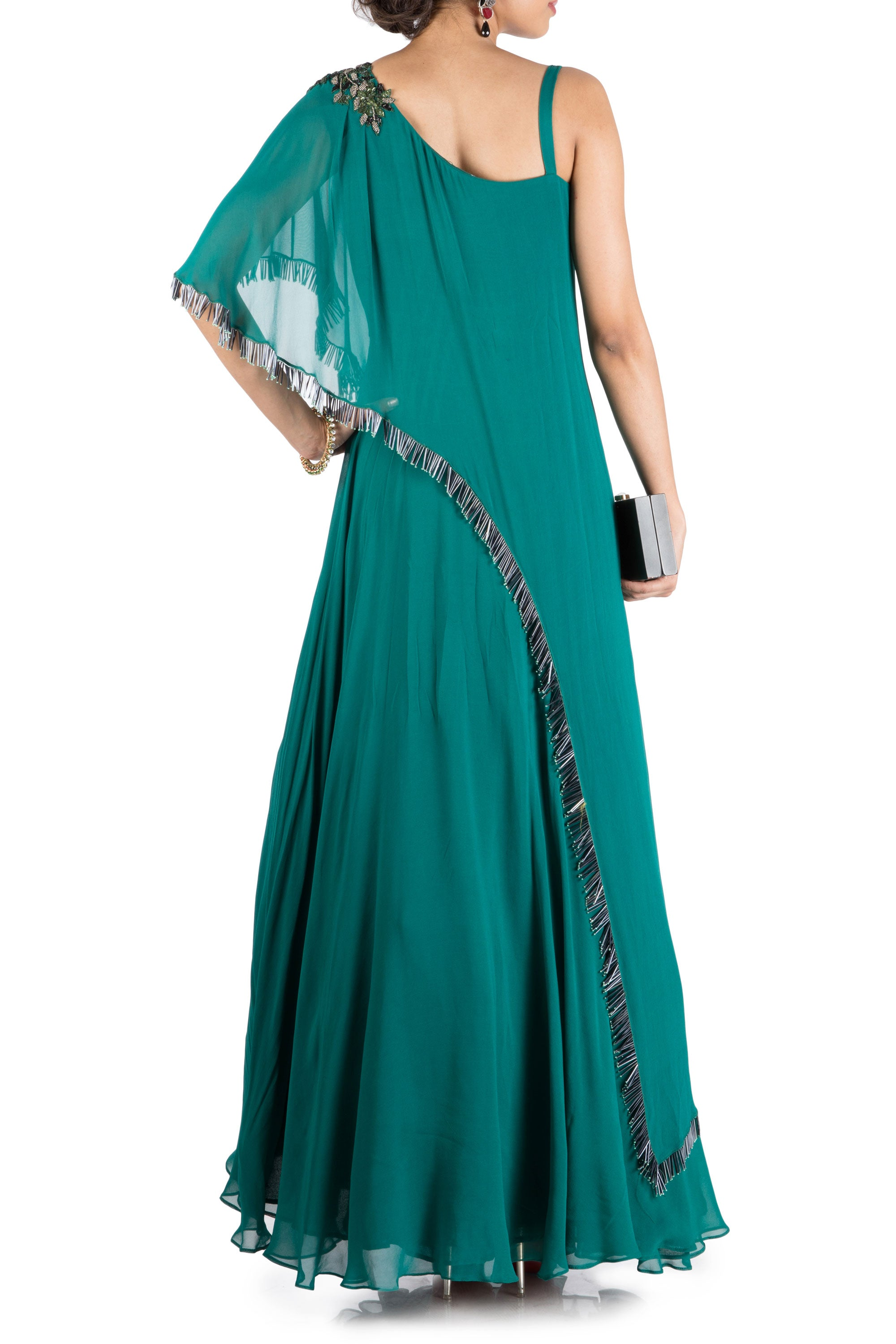 Teal Green One Side Cape Flare Gown Back