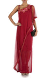 Wine Fitted Layer Dress With Off Shoulder Cape Front