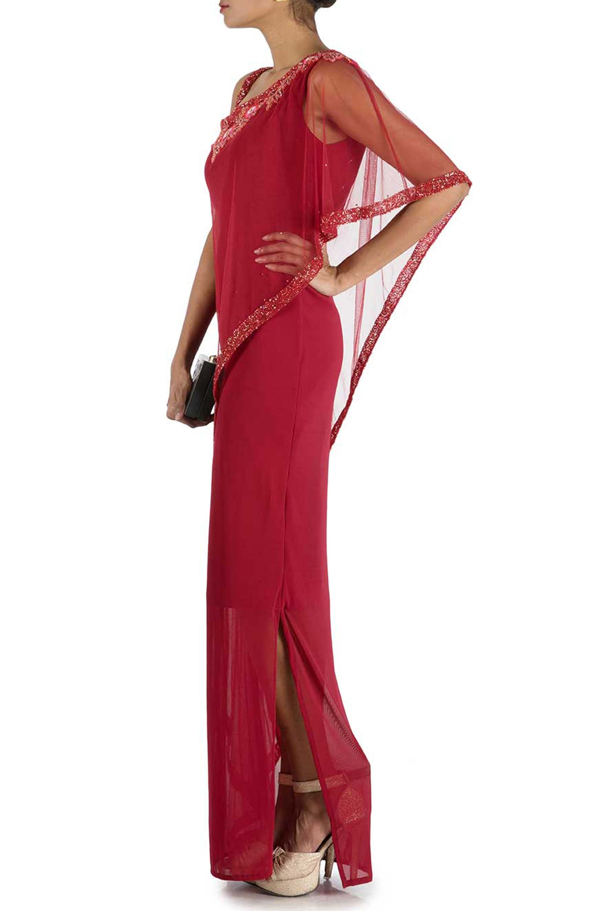 Wine Fitted Layer Dress With Off Shoulder Cape Side