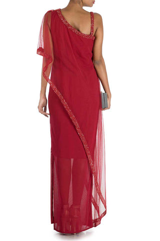 Wine Red Layer Dress With Off Shoulder Cape