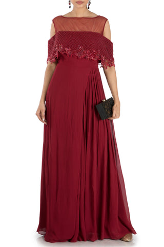 Wine Layered Jumpsuit With Off Shoulder Cape Front