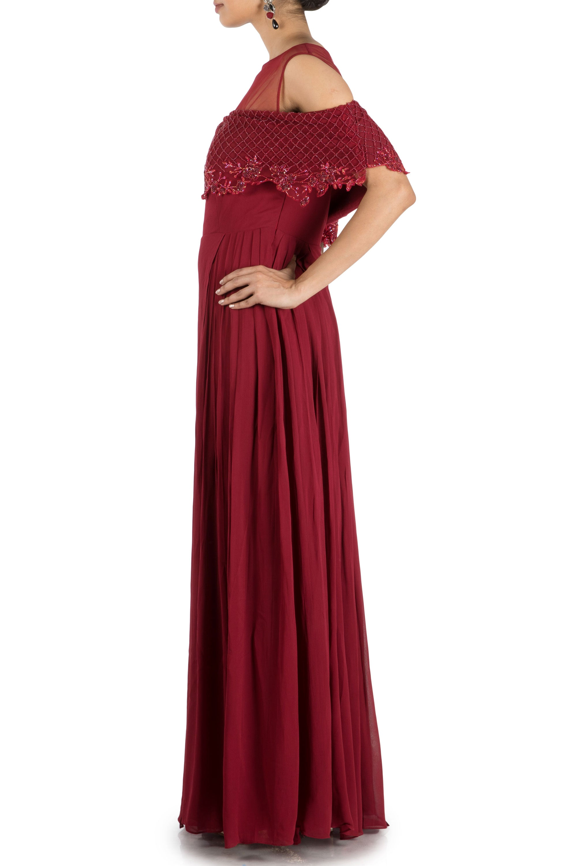 Wine Layered Jumpsuit With Off Shoulder Cape Side