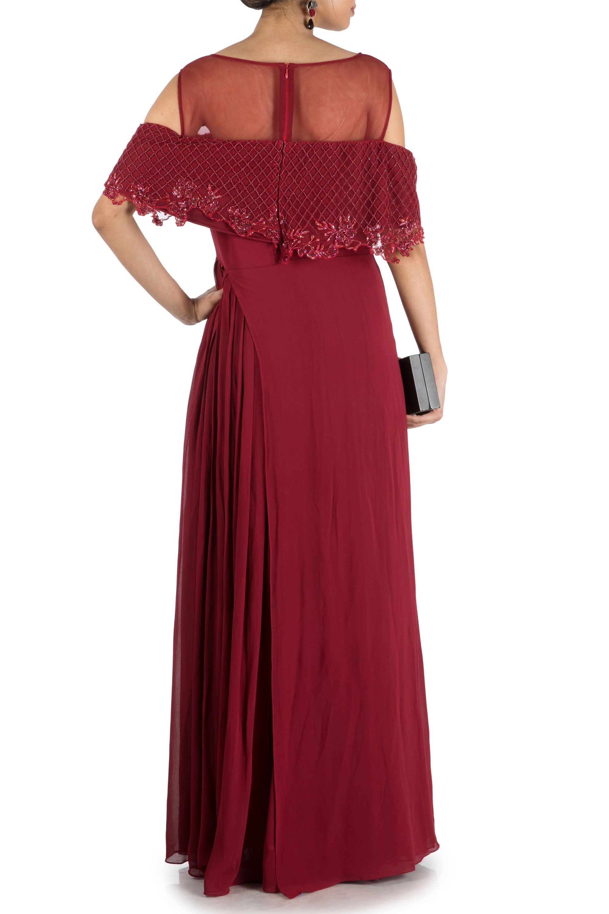 Wine Layered Jumpsuit With Off Shoulder Cape Back