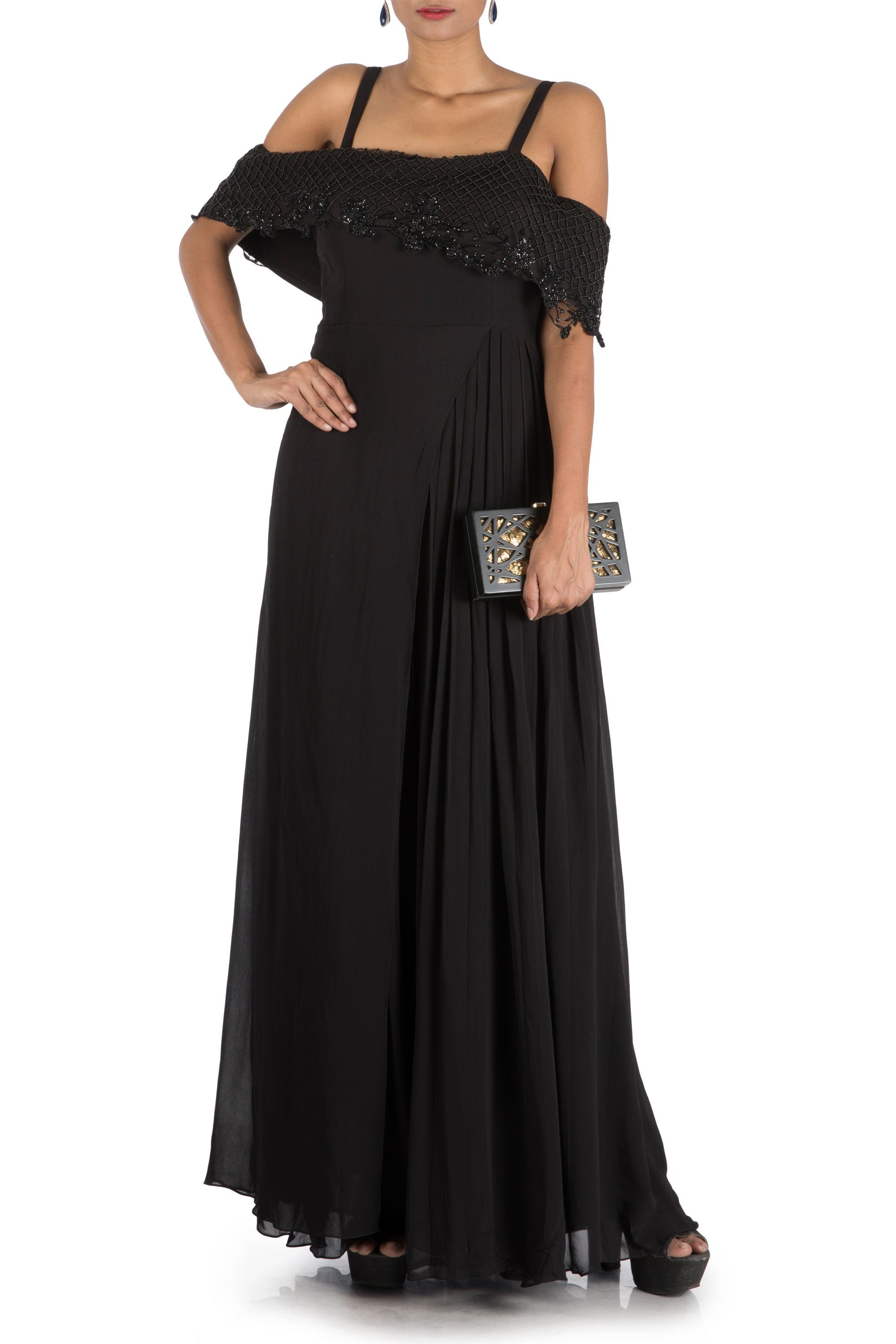 Charcoal Black Layered Jumpsuit With Off Shoulder Cape Front