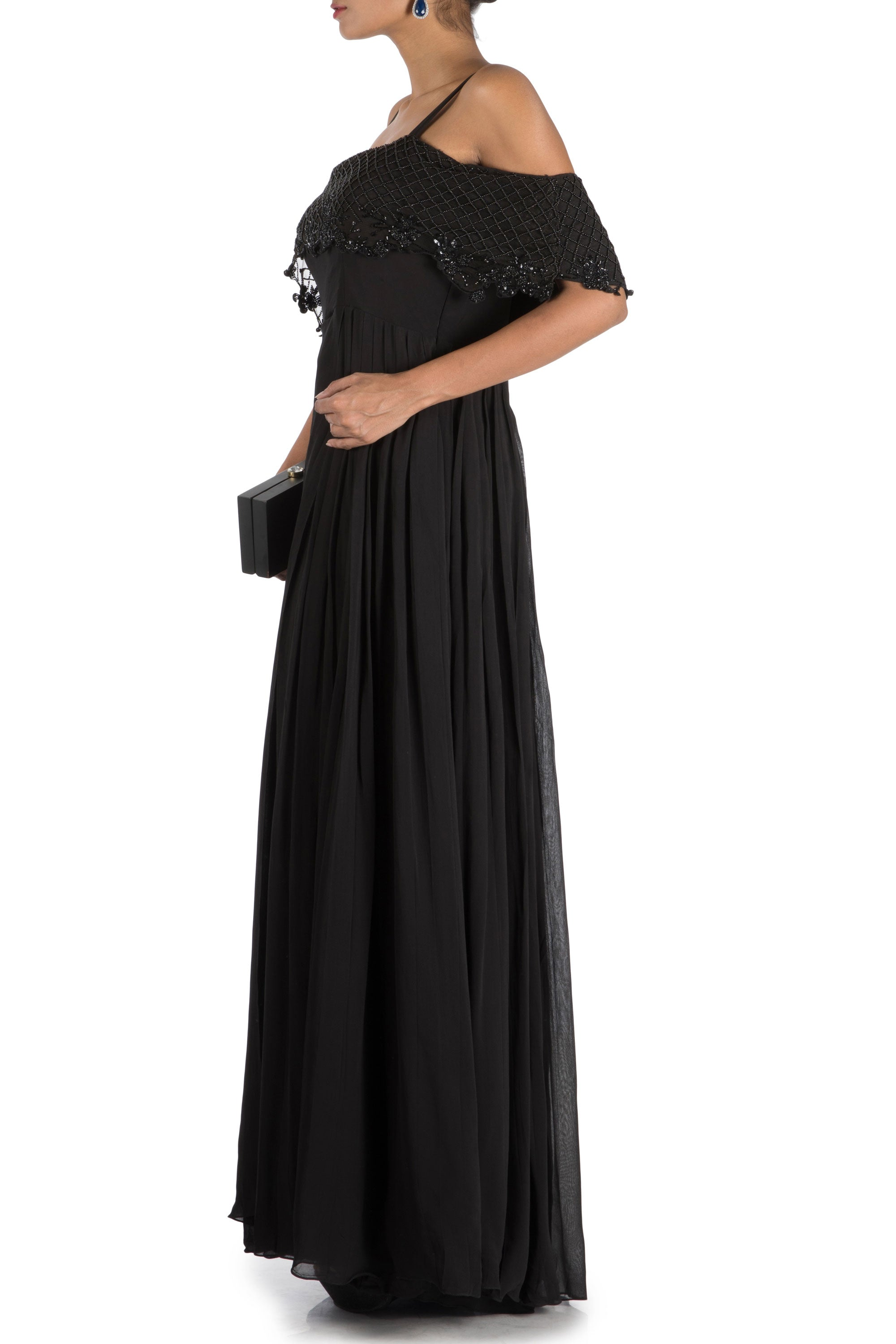 Charcoal Black Layered Jumpsuit With Off Shoulder Cape Side