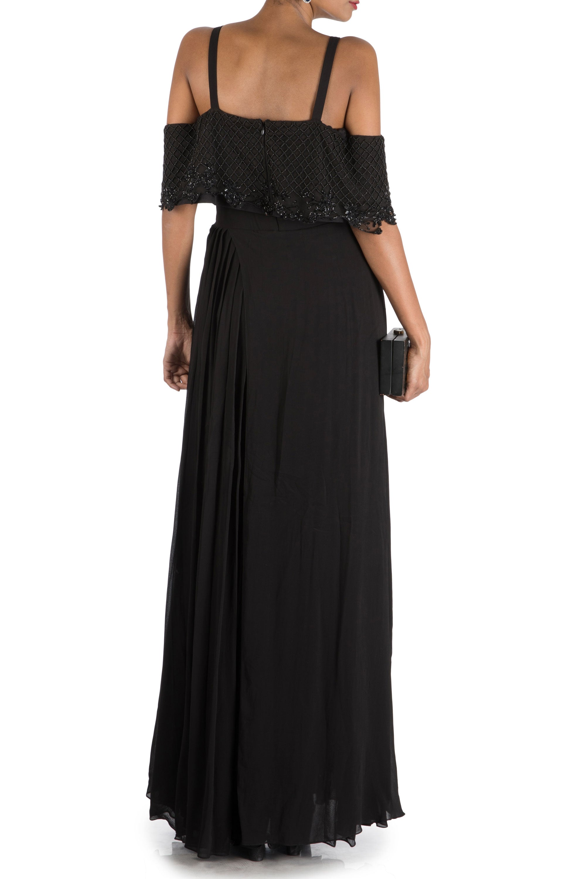 Charcoal Black Layered Jumpsuit With Off Shoulder Cape Back
