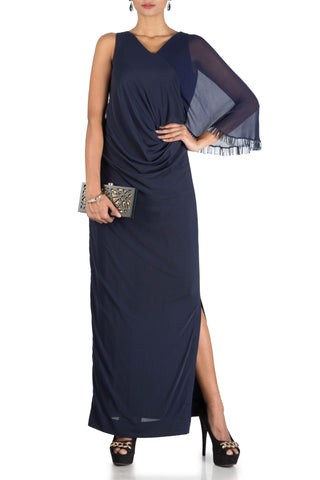Midnight Blue One Side Cape Long Drape Dress Front