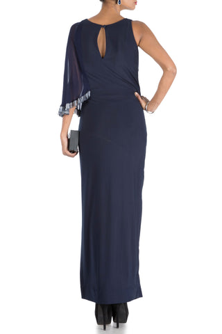 Midnight Blue One Side Cape Long Drape Dress