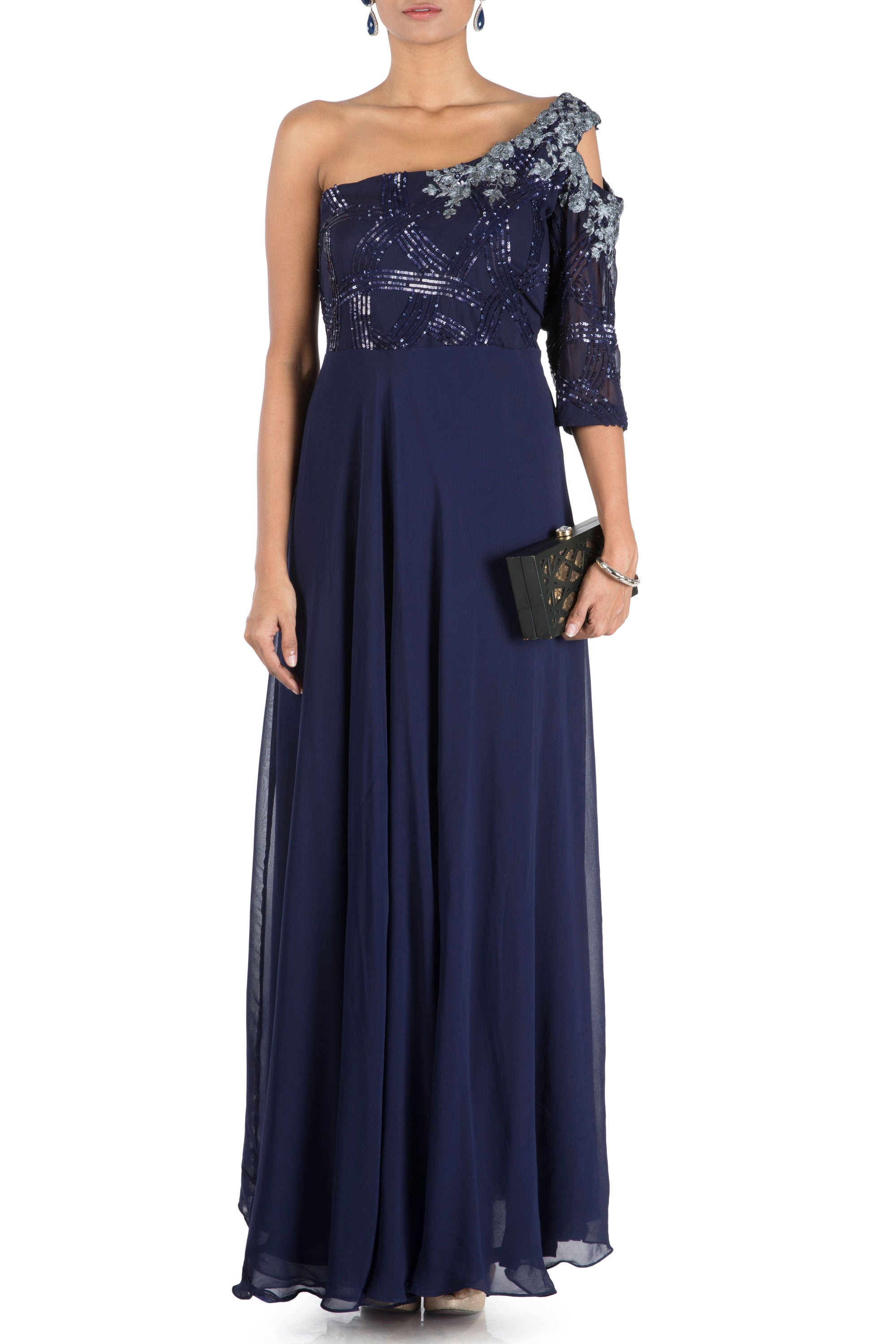 Midnight Blue Off Shoulder Flare Gown With One Side Cold Shoulder Viva Luxe