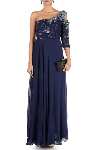 Midnight Blue Off Shoulder Flare Gown With One Side Cold Shoulder Front