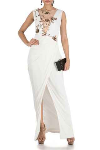 Ivory Drape Cocktail Dress Front