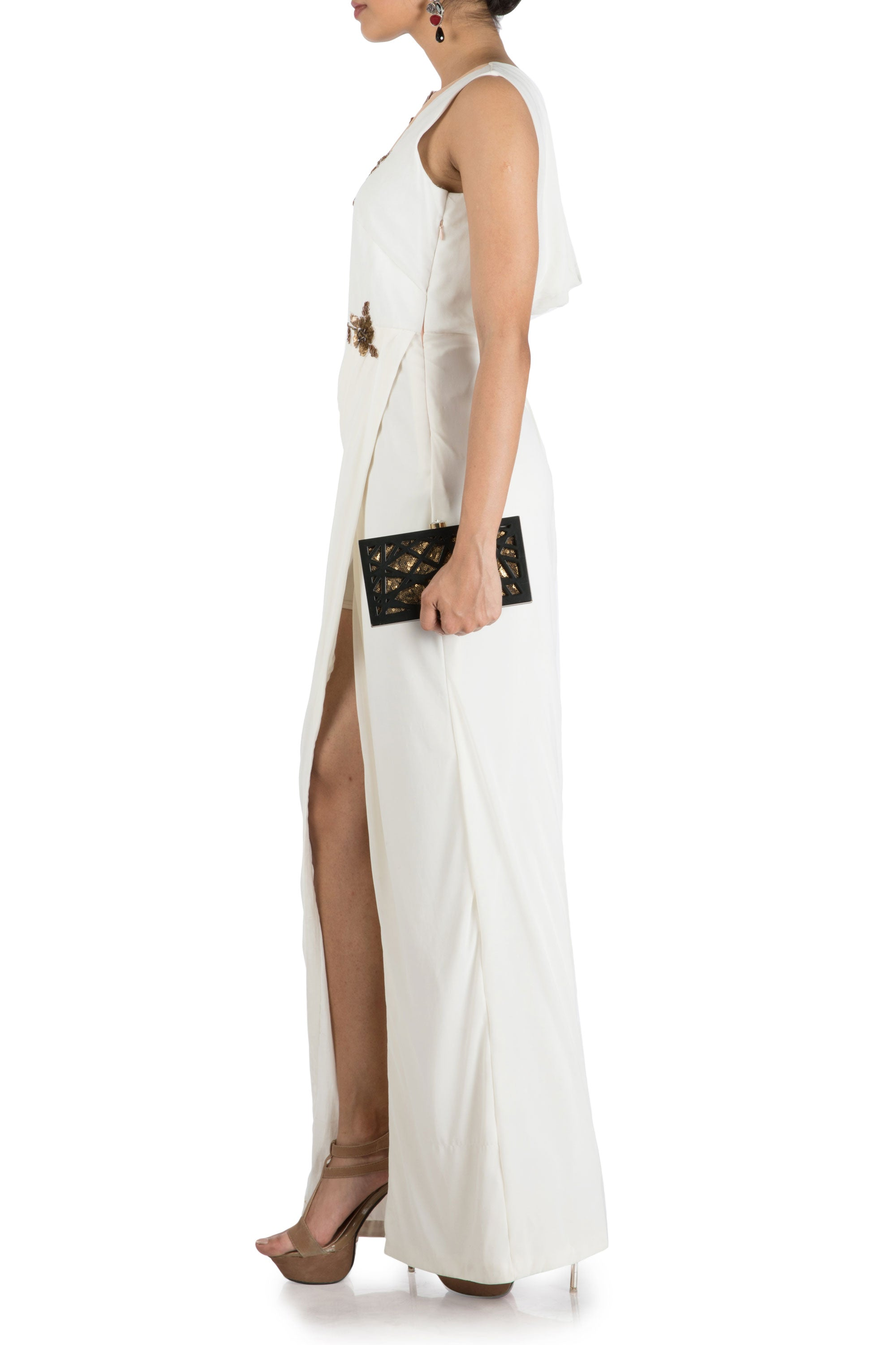 Ivory Drape Cocktail Dress Side