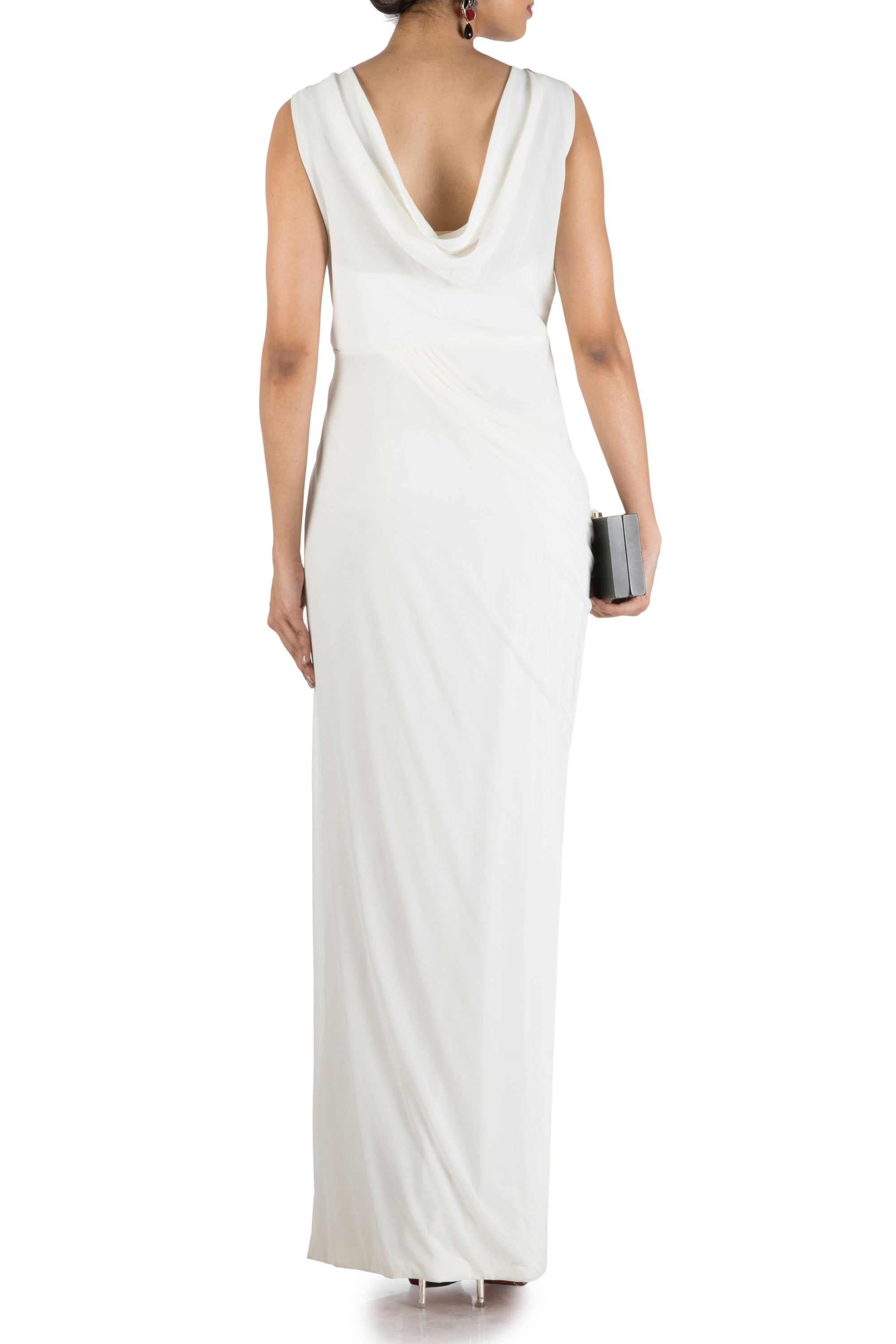 Ivory Drape Cocktail Dress Back