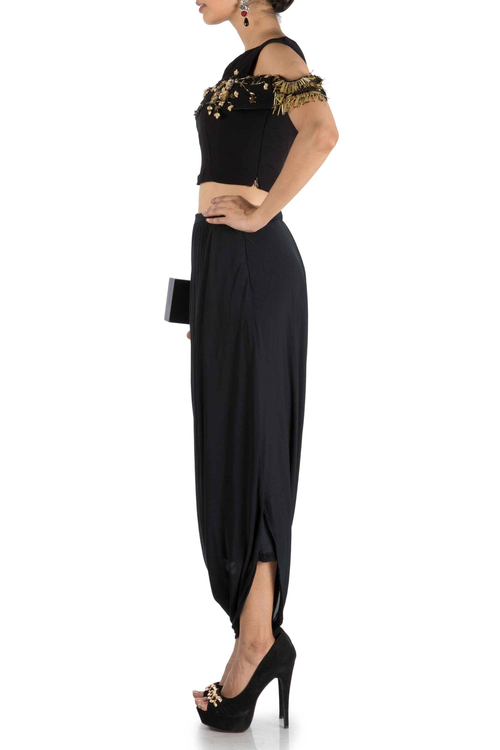 Black Bandeau Crop Top And Dhoti Skirt Side