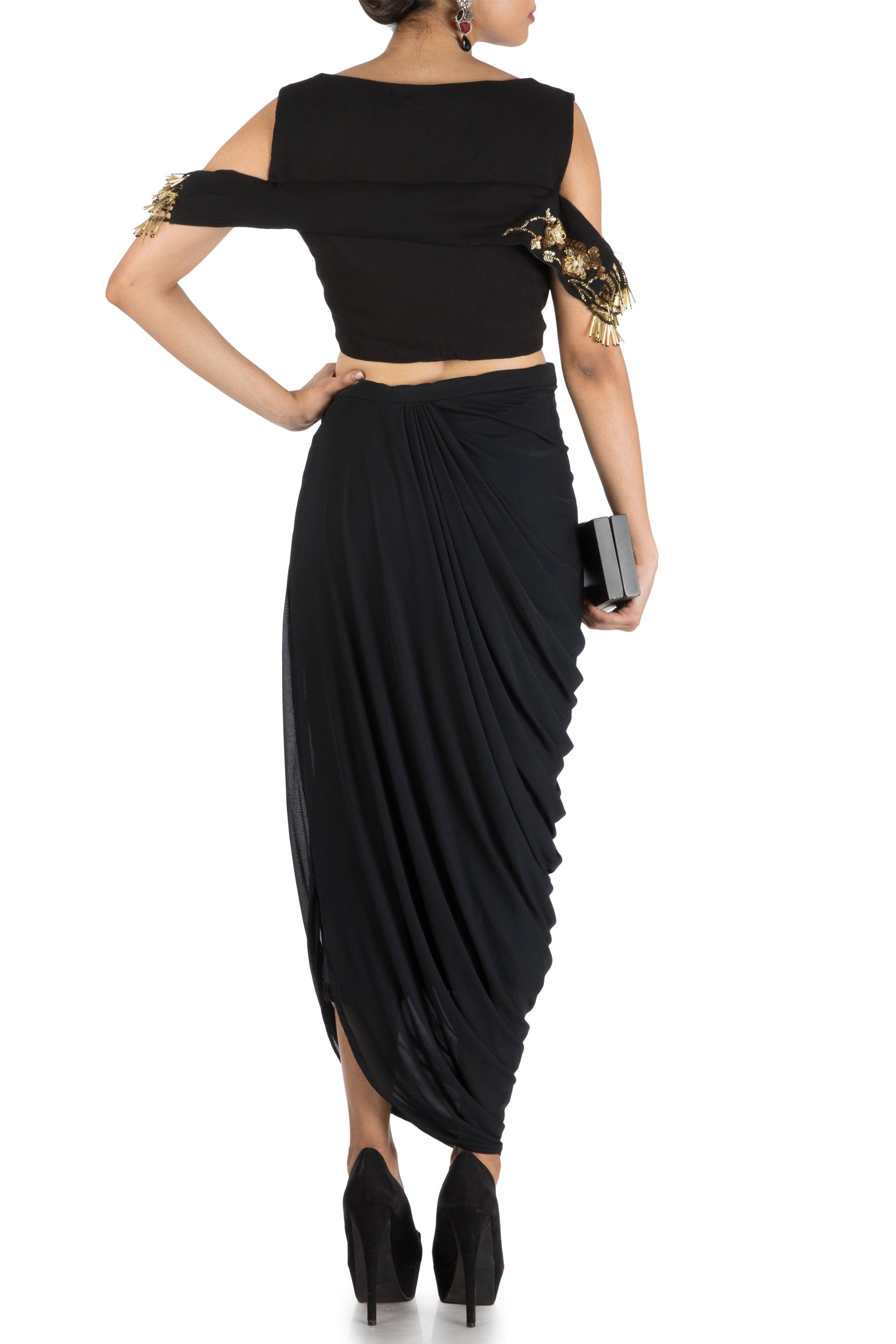 Black Bandeau Crop Top And Dhoti Skirt Back