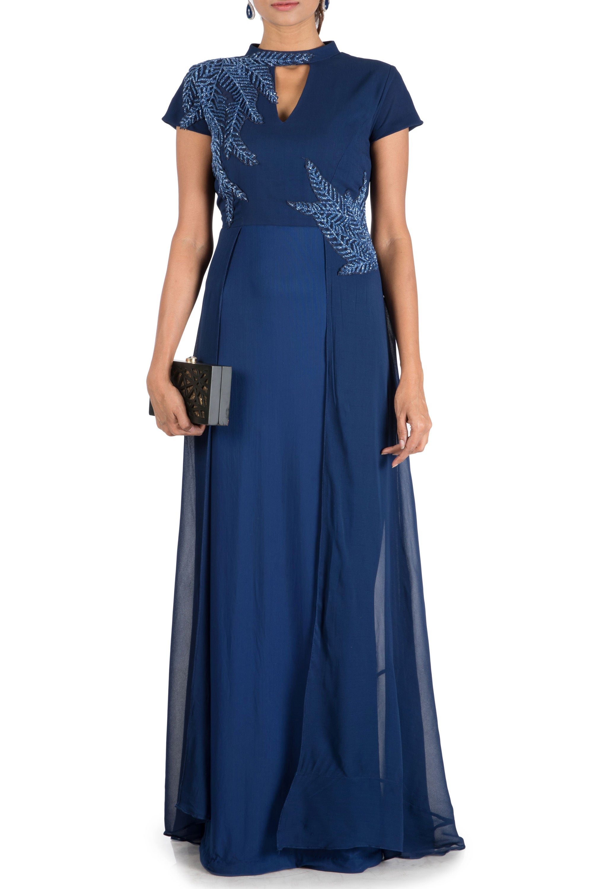 Royal Blue Double Layer Gown Front