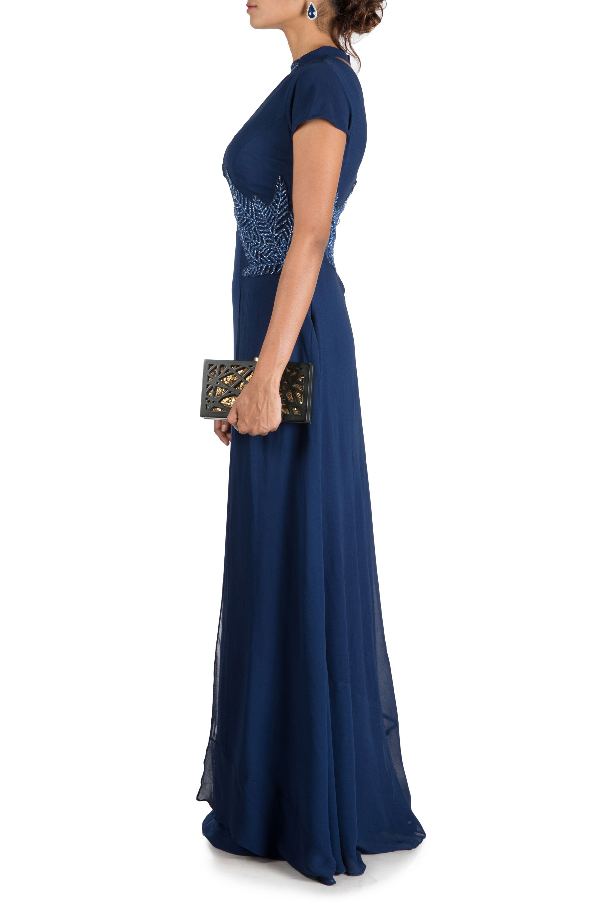 Royal Blue Double Layer Gown Side