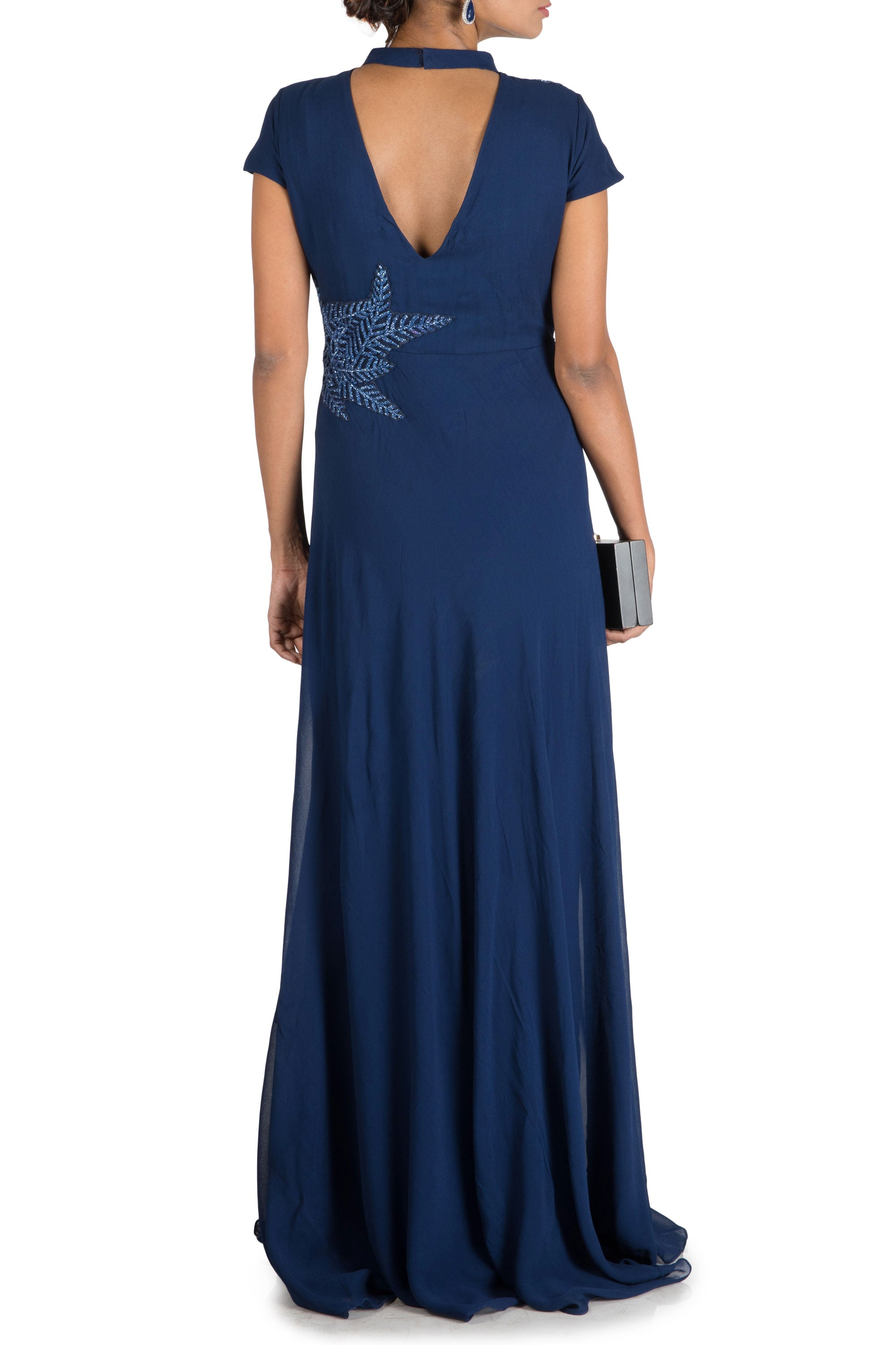 Royal Blue Double Layer Gown Back