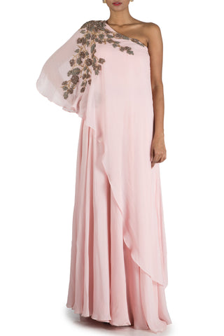 Powder Pink One sided Off Shoulder Cape Gown Front