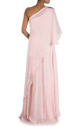 Powder Pink One sided Off Shoulder Cape Gown