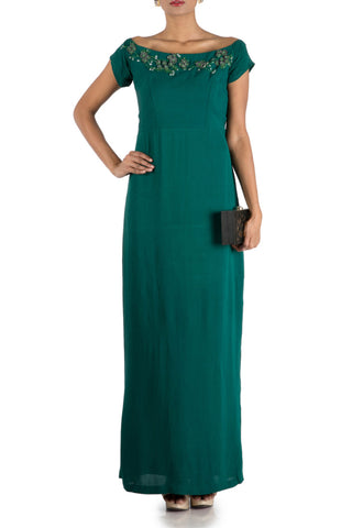 Bottle Green Wide Shoulder Gown Front