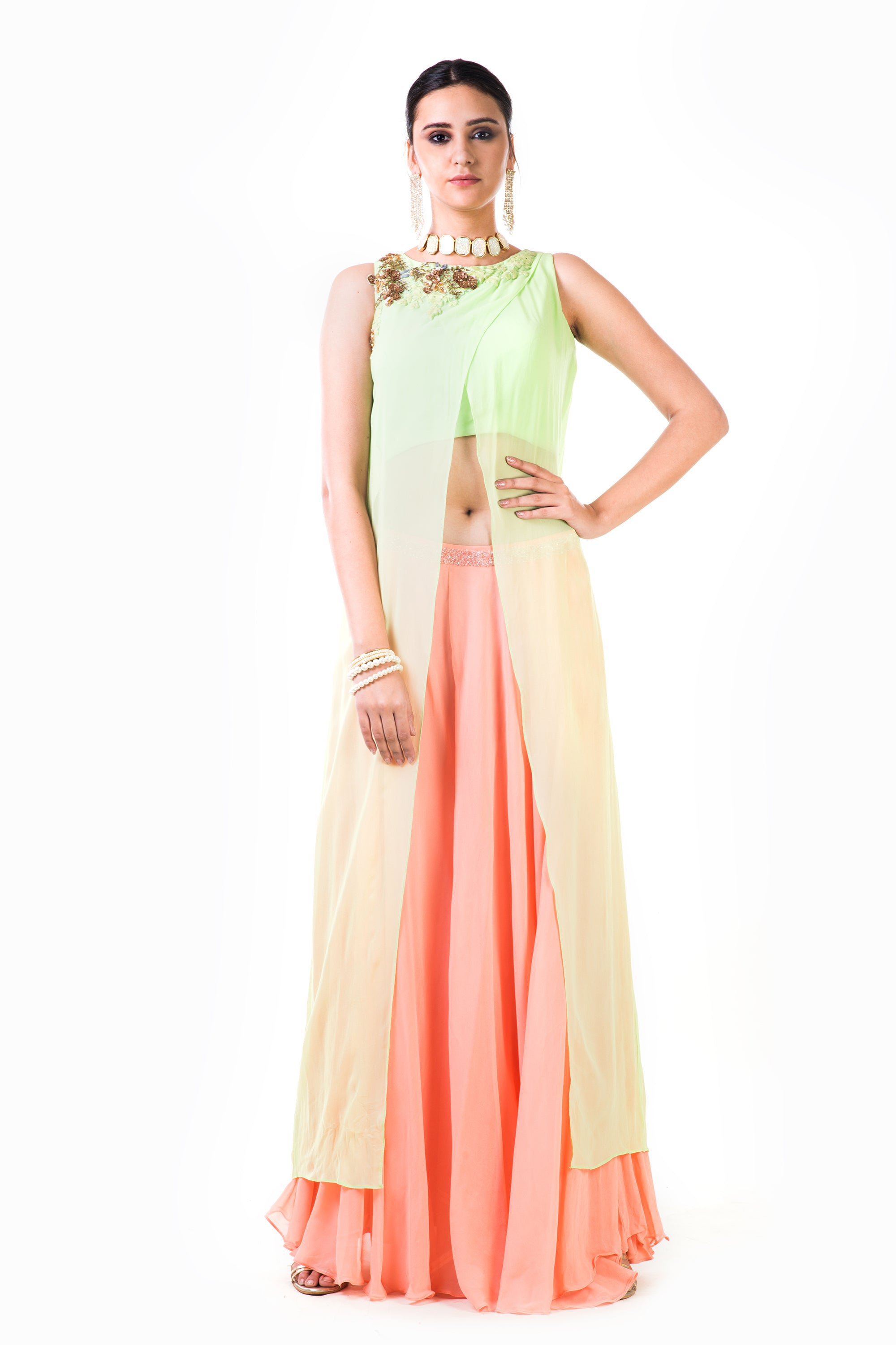 Lime Green & Peach Suit Set Front