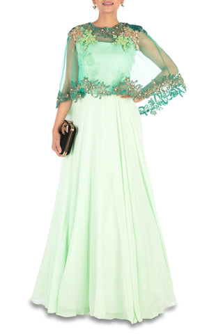 Hand Embroidered Sea Green Flare Gown With Dark Green Cape Front