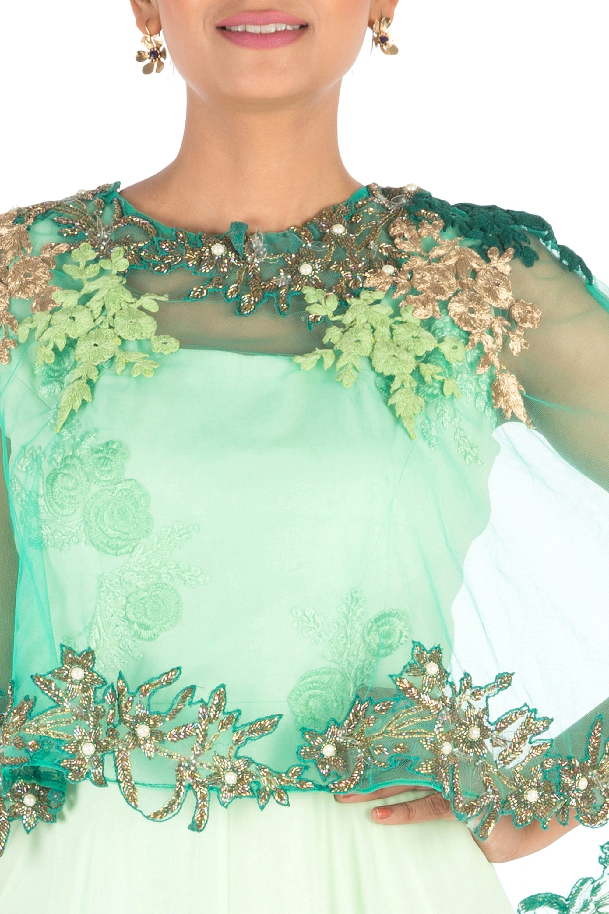 Hand Embroidered Sea Green Flare Gown With Dark Green Cape Closeup