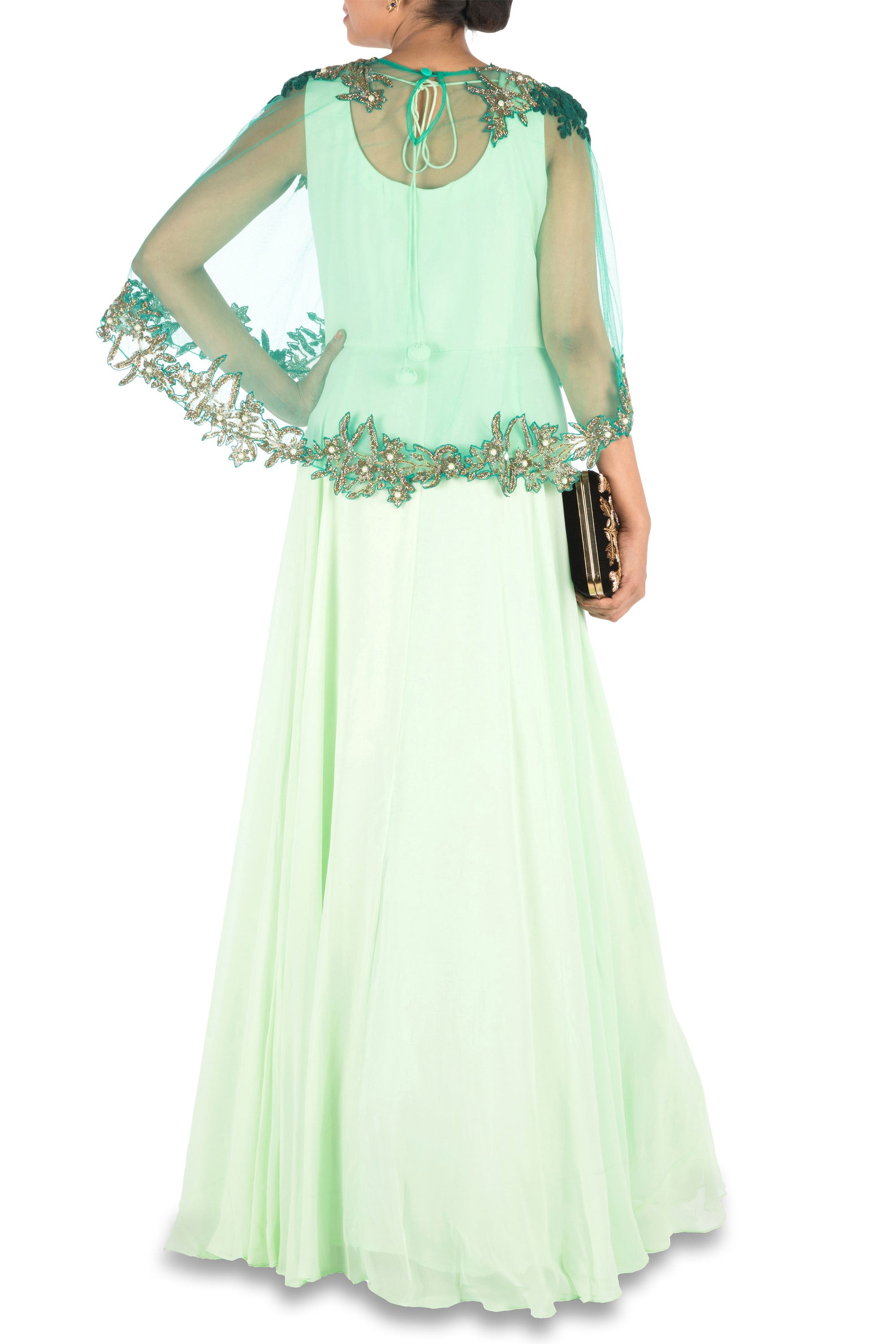 Hand Embroidered Sea Green Flare Gown With Dark Green Cape Back