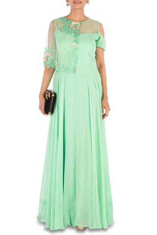 Hand Embroidered Lime Green Gown With One Side Cape &  Cold-Shoulder Front