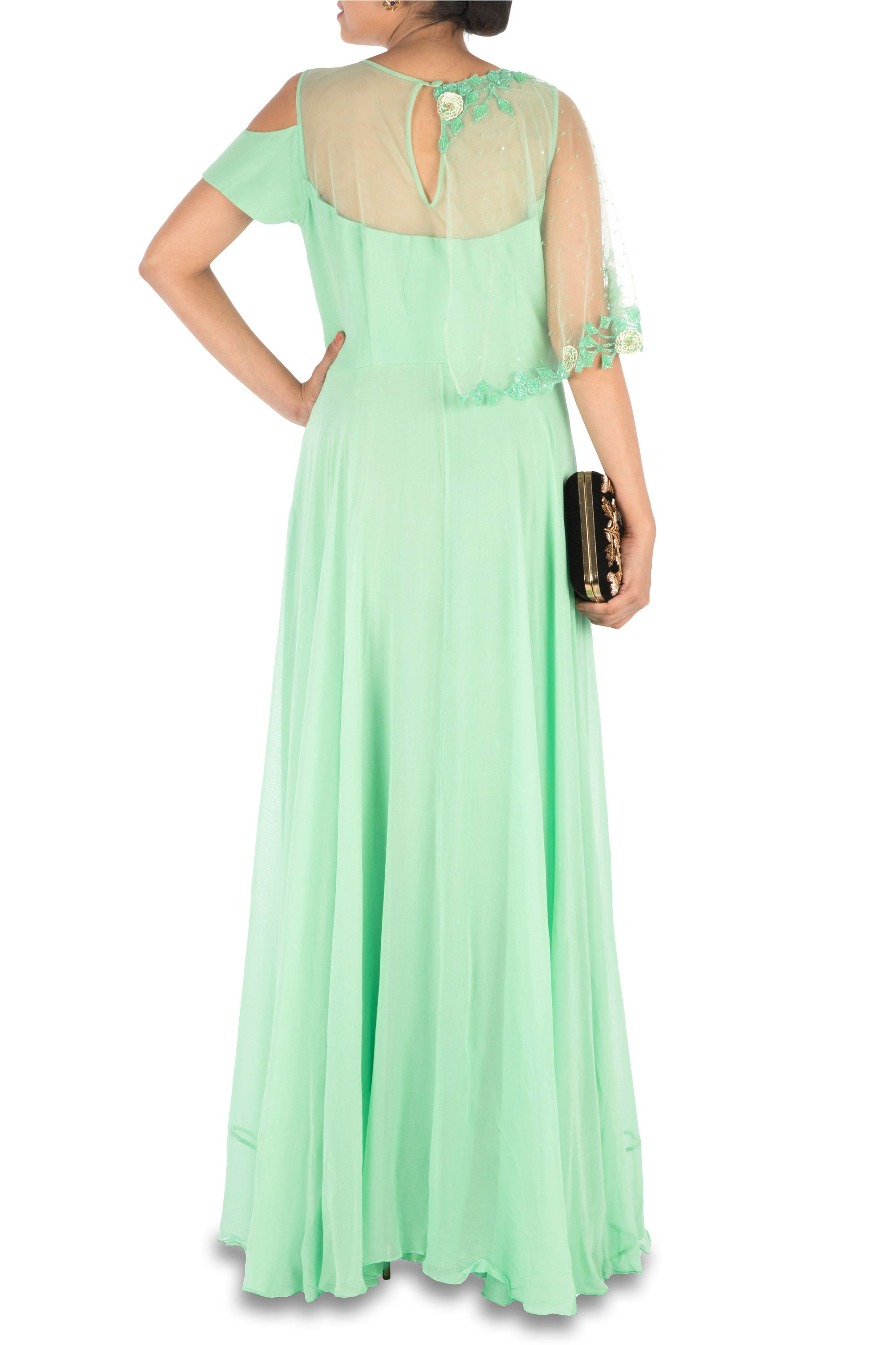 Hand Embroidered Lime Green Gown With One Side Cape & Cold-Shoulder ...