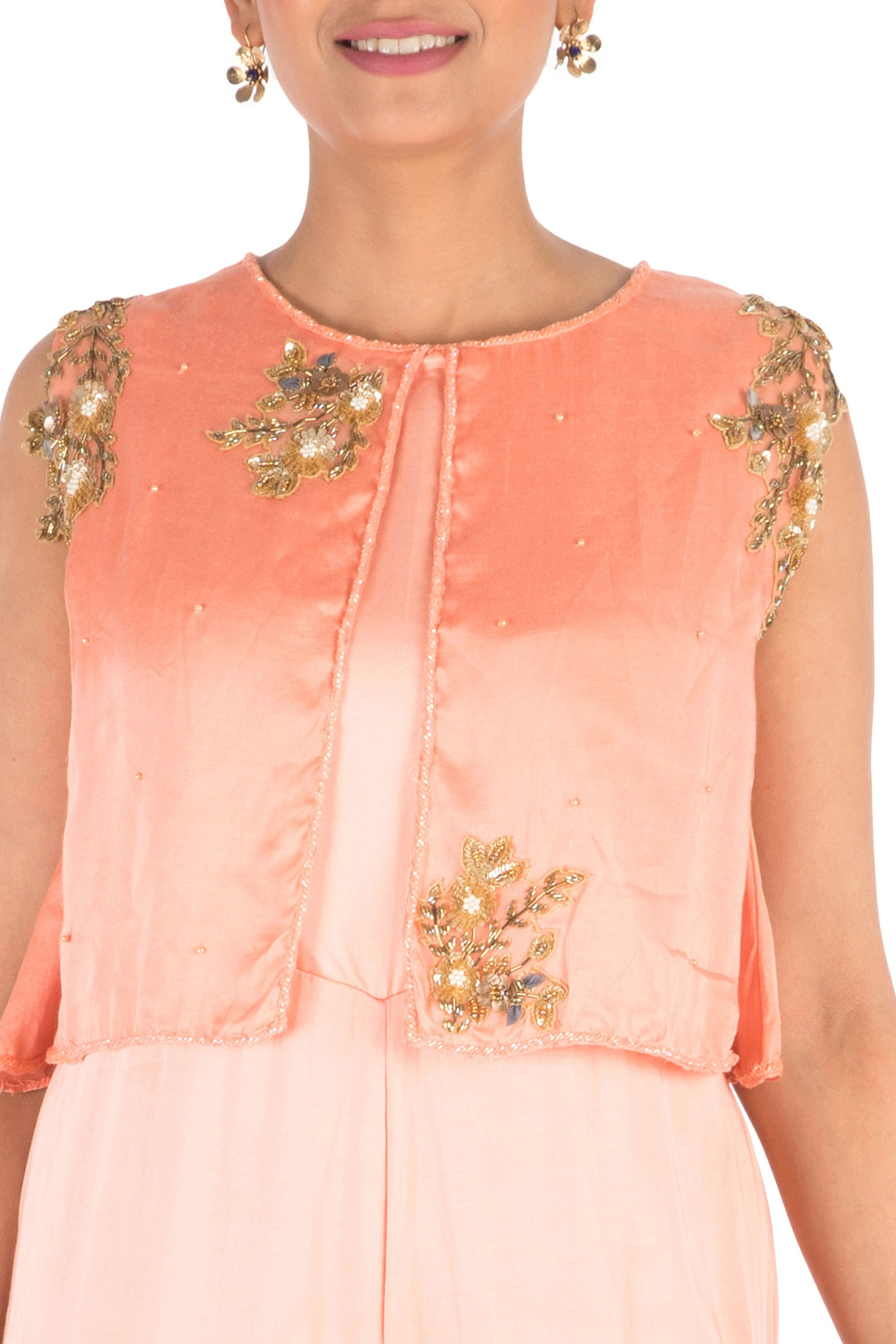 Hand Embroidered Peach Jumpsuit With Attach Jacket Closeup