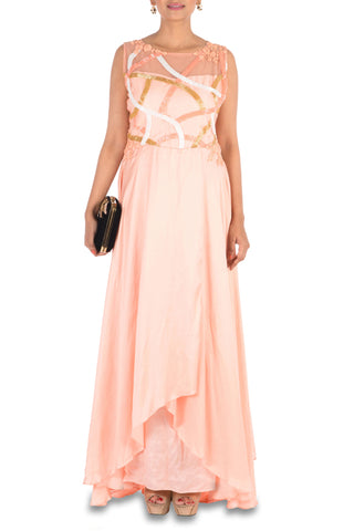 Hand Embroidered Peach Overlap Gown Front