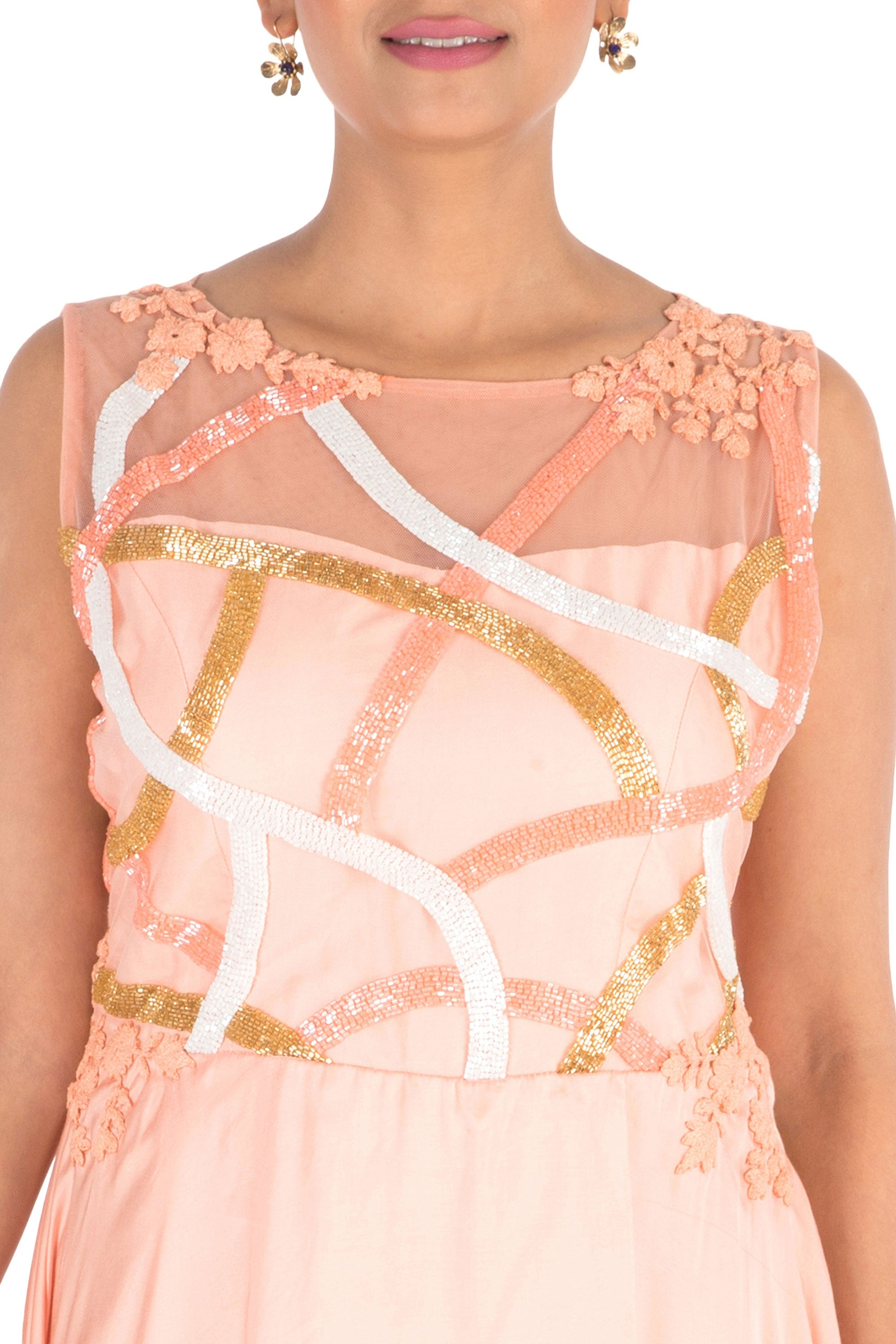 Hand Embroidered Peach Overlap Gown Closeup