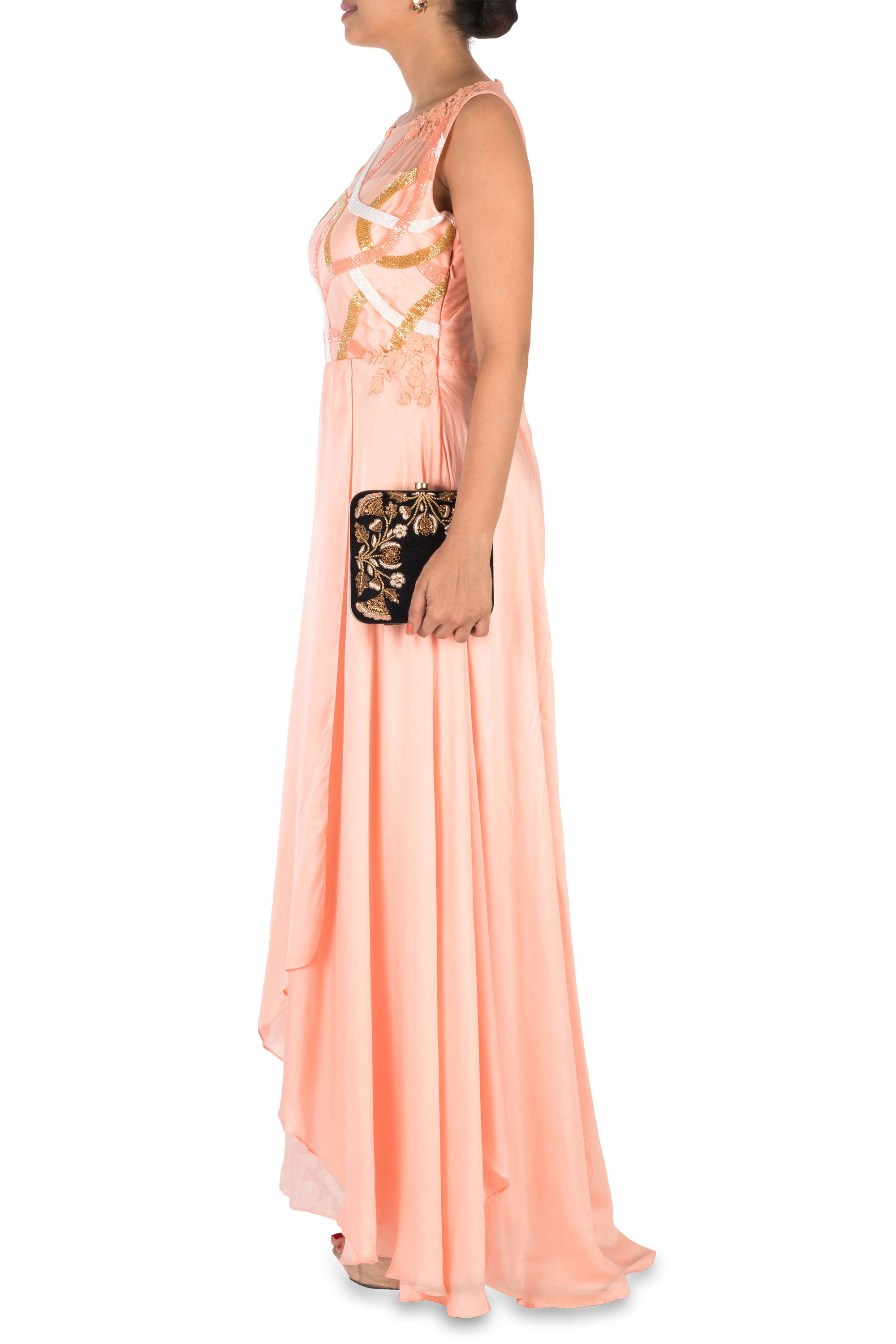 Hand Embroidered Peach Overlap Gown Side