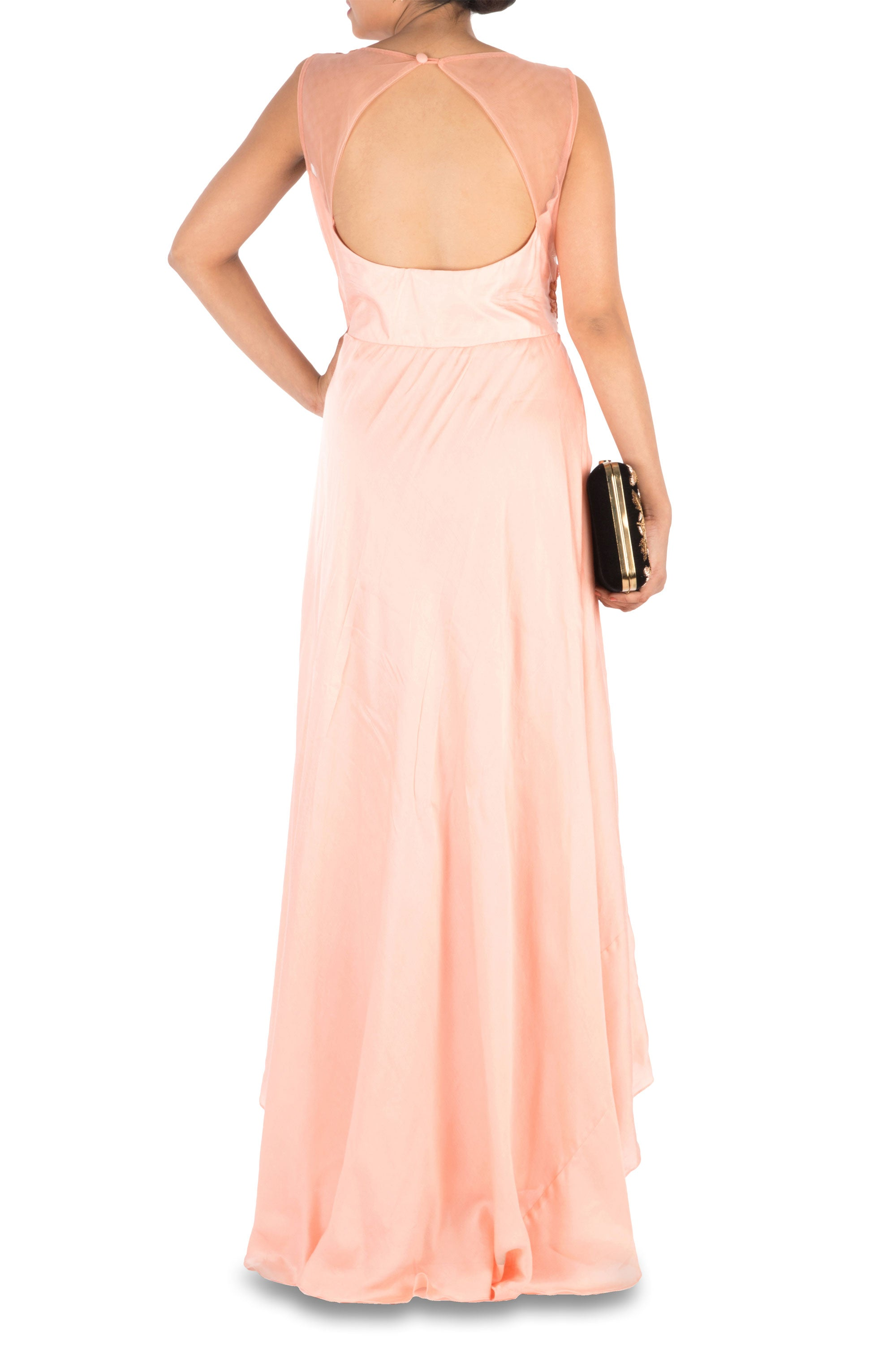 Hand Embroidered Peach Overlap Gown Back
