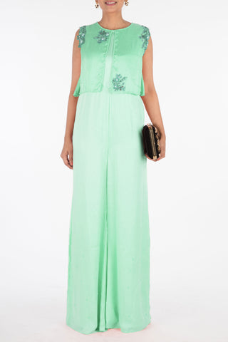 Sea Green Jumpsuit With Attach Jacket Front