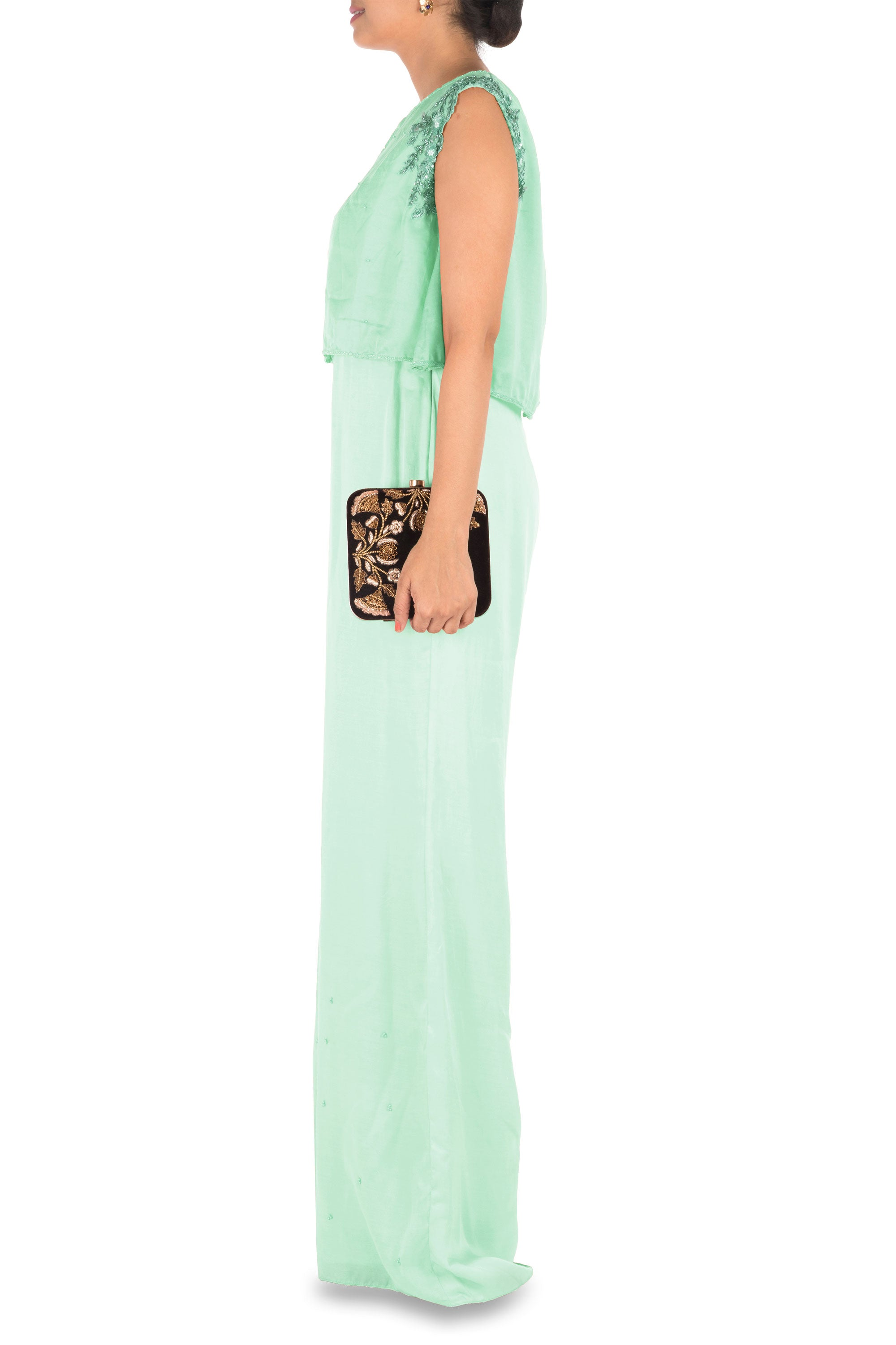 Sea Green Jumpsuit With Attach Jacket Side