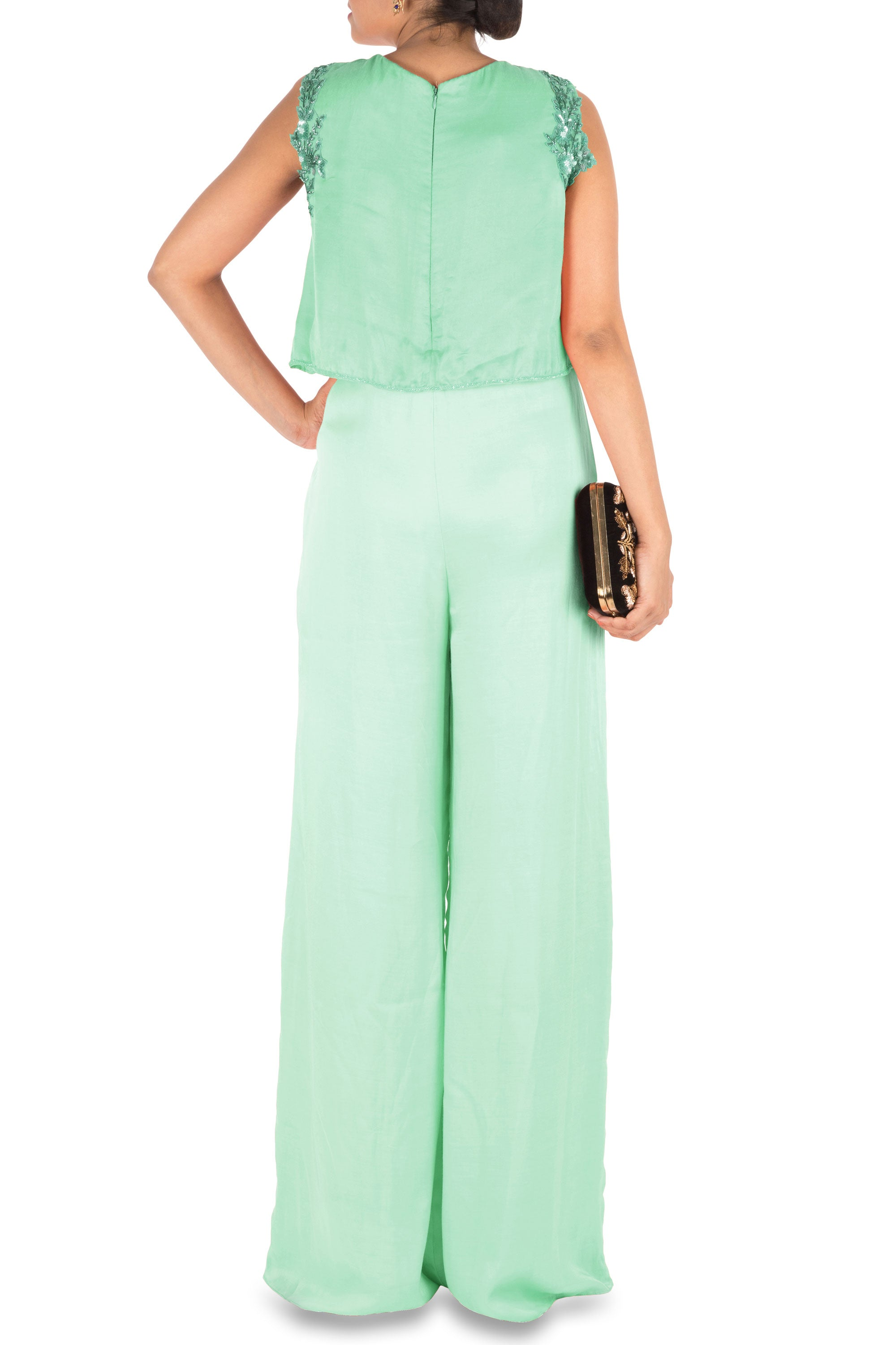 Sea Green Jumpsuit With Attach Jacket Back