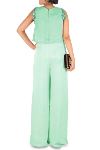 Sea Green Jumpsuit With Attach Jacket