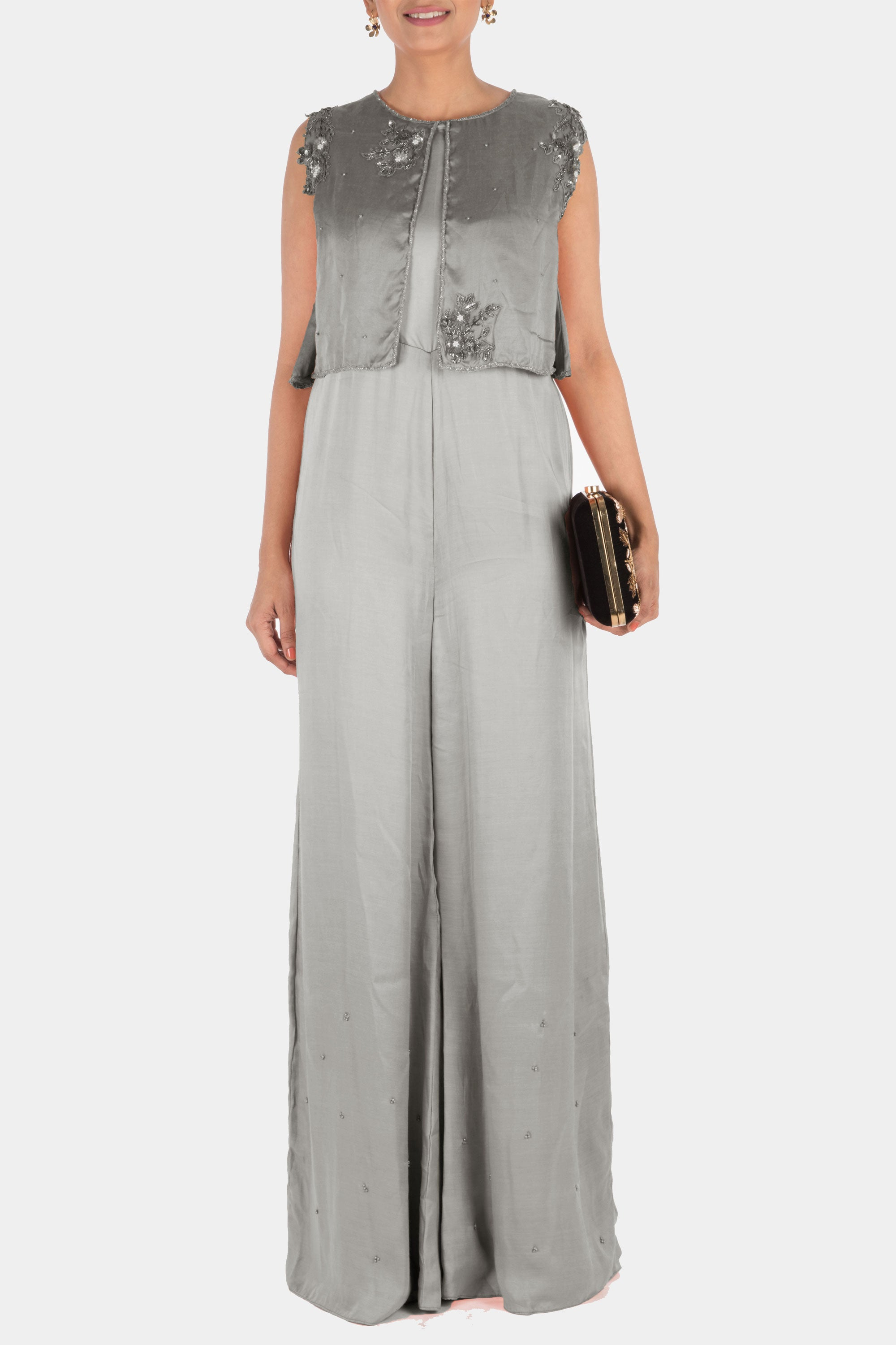 Hand Embroidered Grey Jumpsuit With Attach Jacket Front