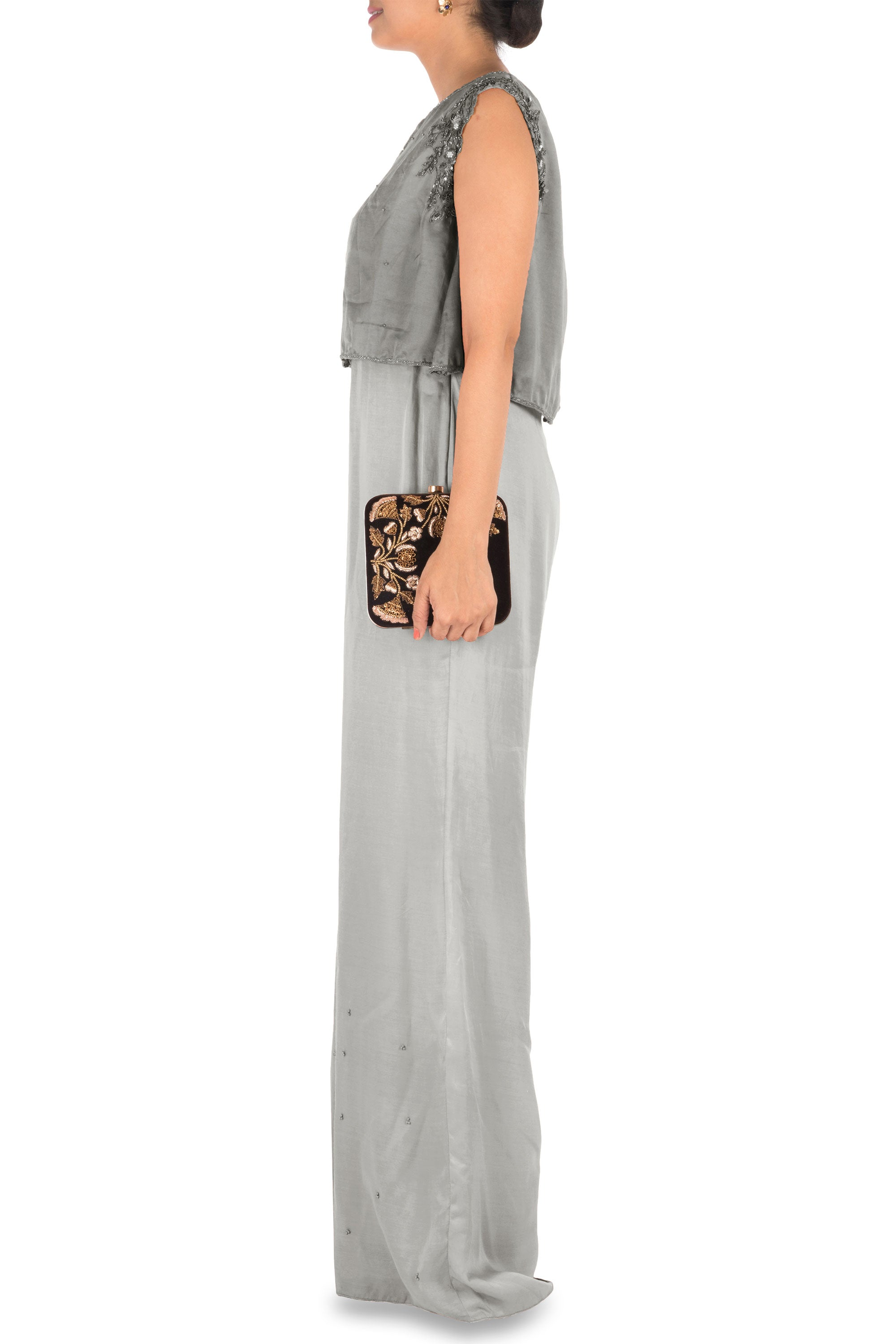 Hand Embroidered Grey Jumpsuit With Attach Jacket Side