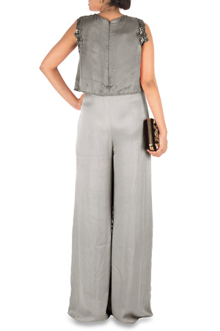 Hand Embroidered Grey Jumpsuit With Attach Jacket