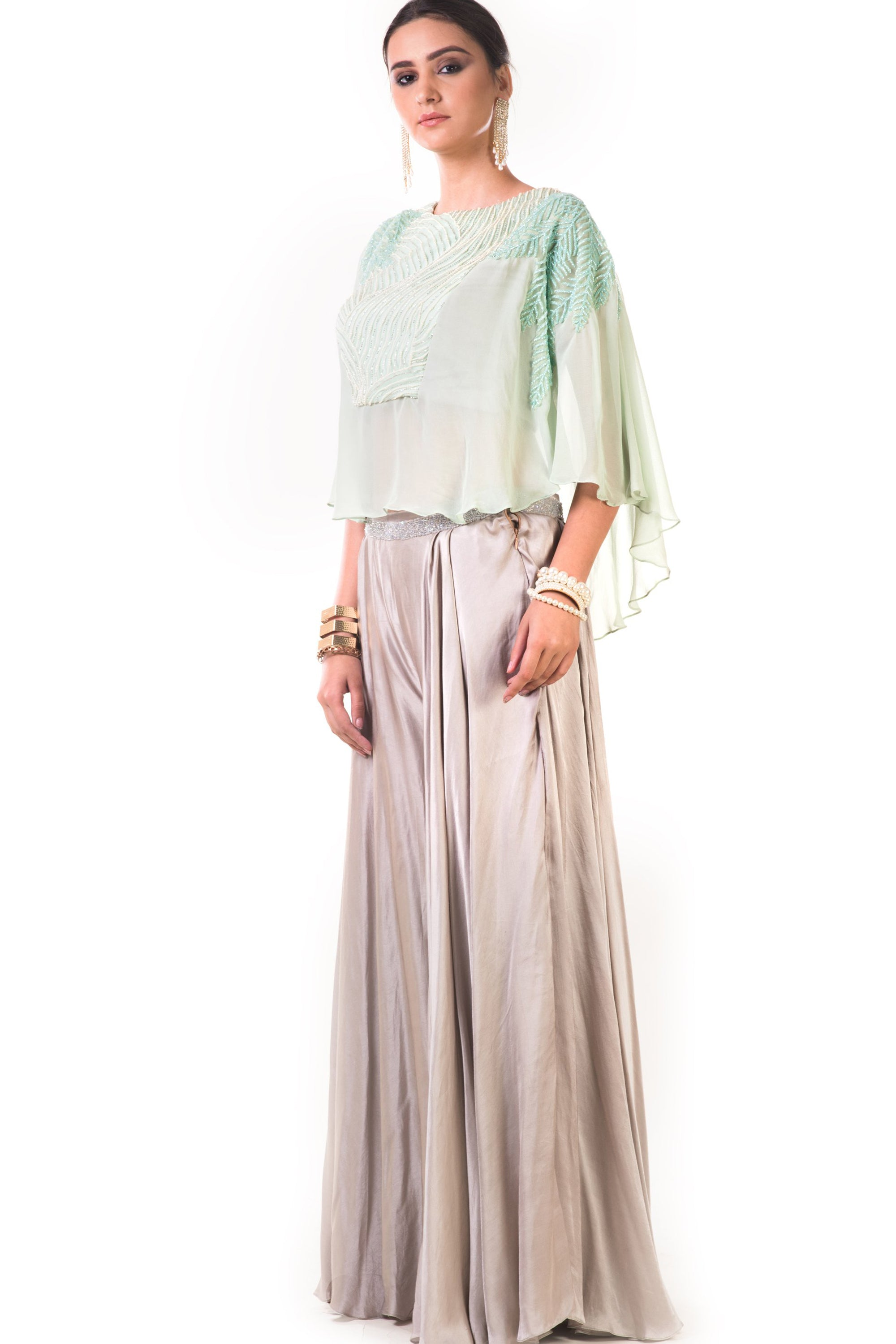 Aqua Green Cape Blouse With Grey Palazzo Pants