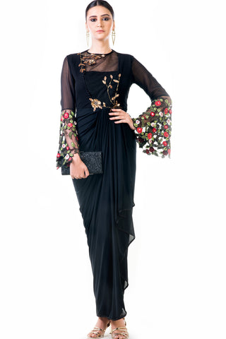 Black Embroidered Bell Sleeves Draped Dress Front