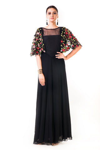 Black Hand Embroidered Cape Style Gown Front