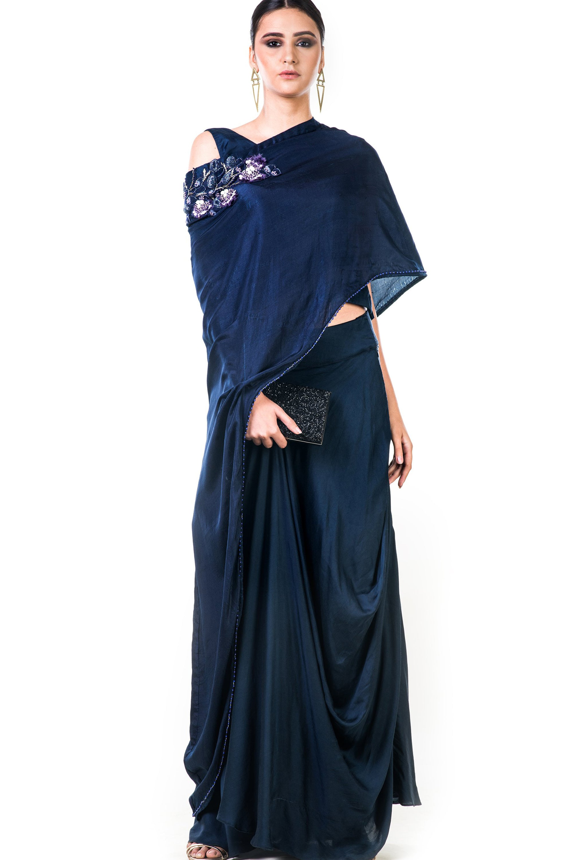 Midnight Blue Draped Gown | VIVA-LUXE